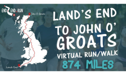 Bernadette running from Lands End to John O Groats