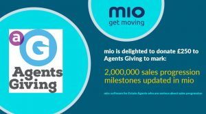 mio second year celebration donation to Agents Giving